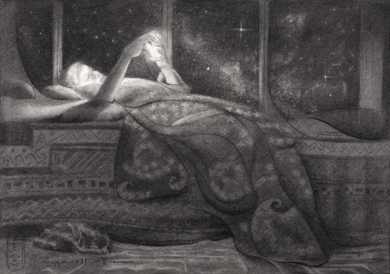 surrealist girl graphite pencil drawing