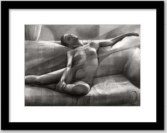cubist nude graphite pencil drawing framed example