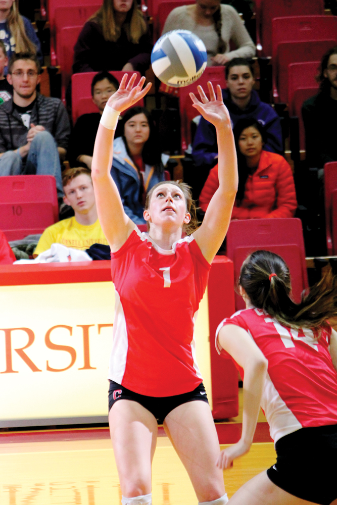 Morgan Cohen / Sun Contributor Junior setter Alyssa Phelps, pictured above, had 27 assists the last time Cornell faced Columbia. She shared the setting responsibilities with freshman Lauren Donnelly.