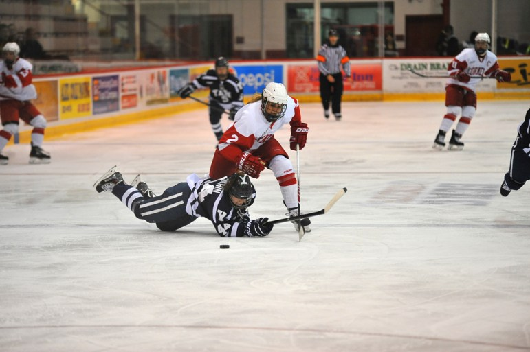 The Cornell women's hockey team struggled to keep up with the No. 2 Boston College Eagles over the weekend. The performance of Alex Carpenter and Makenna Newkirk of the Eagles propelled BCto victory. (Kern Sharma / Sun Staff Photographer)
