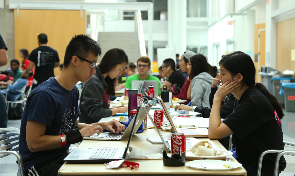 Students hack continuously for 36 hours last weekend, preparing projects that will be judged by professional programmers and designers. (Jason Zhou / Sun Contributor)