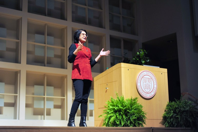 Padmasree Warrior M.S. '84 offers her predictions for the engineering field Saturday in the Statler Auditorium (Brittney Hew / Sun News Photography Editor).