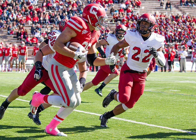 Sophomore wideout James Hubbard picked up 28 receiving yards and lost a fumble against Harvard on Saturday. (Courtesy of Cornell Athletics)