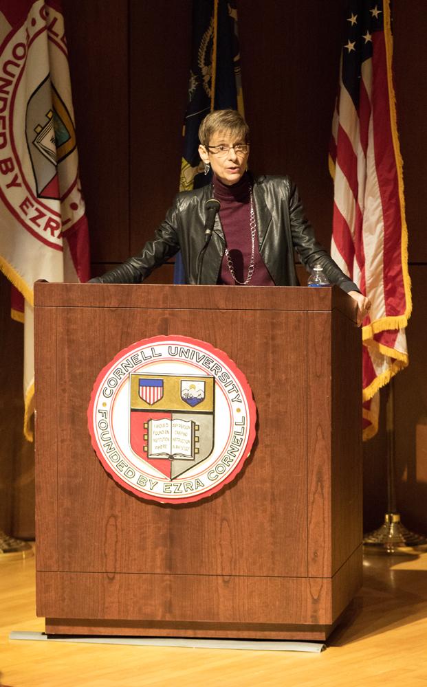 President Elizabeth Garrett praises the work of staff at her first address to the group in Kennedy Hall Friday. (Jason Ben Nathan / Sun Staff Photographer)