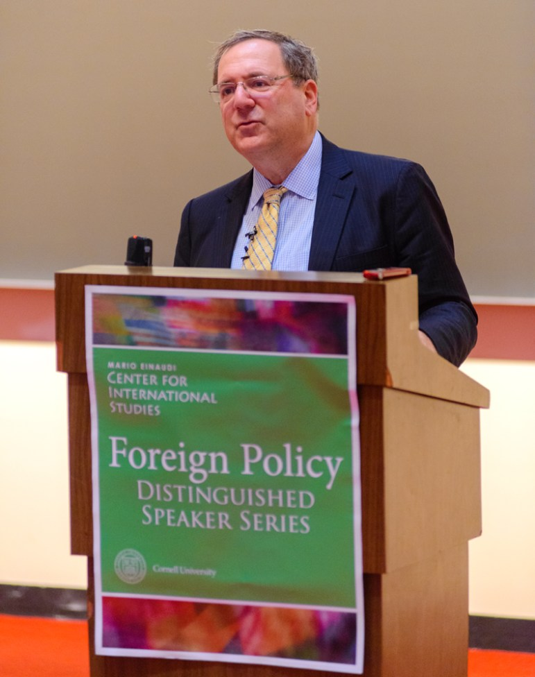 Prof. David Sanger, government, discusses Obama Administration foreign policy in Uris Hall Tuesday (David Navadeh / Sun Staff Photographer).