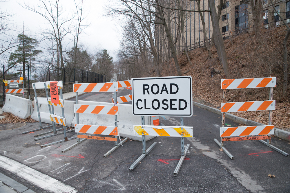 Closed but no closure | Forest Home Drive has remained closed since September as engineers employed by the City of Ithaca try to find the source of mysterious water that is damaging the road.