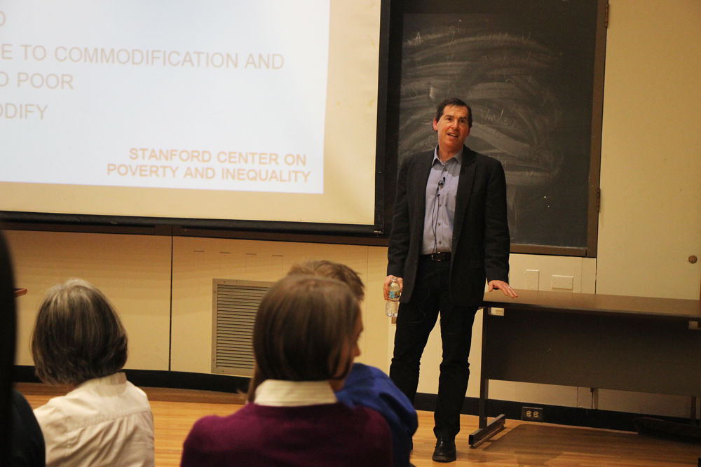 Prof. David Grusky, sociology, Stanford University, discusses ways to eliminate societal inequality at a talk Monday in Goldwin Smith Hall.