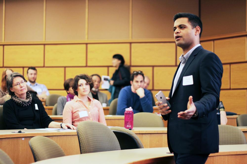 Keynote speaker Kunal Mehta speaks on the importance of social impact for sustainable enterprise in Sage Hall on Saturday.