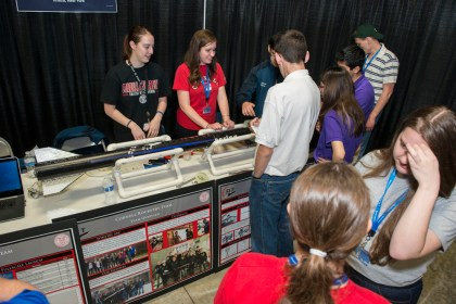 The Cornell Rocketry Team presents their designs at the NASA Student Launch Rocket Fair at last year's competition.
