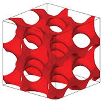 Computer simulation of gyroid structure observed in superconducting materials