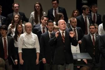 The Cornell University Chorus performs at President Elizabeth Garrett's memorial service.