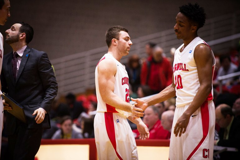 Pictured above with freshman guard Matt Morgan, JoJo has been one of the best players of the bench for Cornell this year