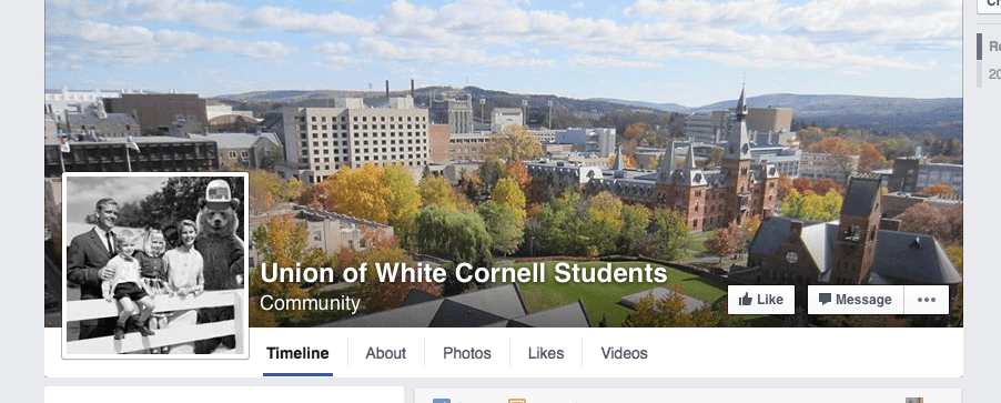 "A screen shot of the Facebook group titled ""Union of White Cornell Students."""