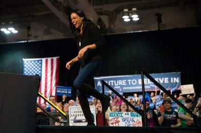 Roario Dawson introduces Bernie Sanders at his rally Tuesday.