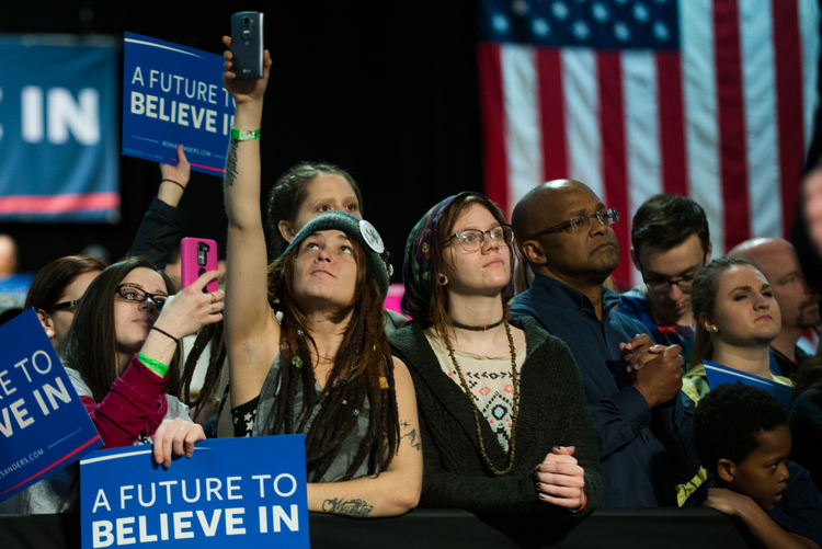 Supporters await the arrival of Sen. Bernie Sanders at a rally in Syracuse on April 12.