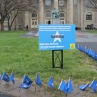 Amnesty International's Arts Quad flag display before it was vandalized Wednesday night.