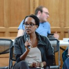Maha Ghandour '17 discusses restructuring decisions at the SA forum in Willard Straight on Thursday.