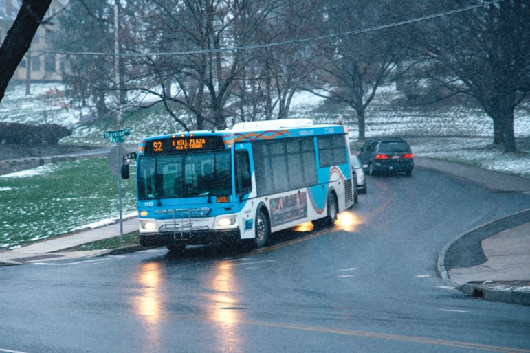 Some TCAT routes are on a snow detour today. Above, a TCAT bus is pictured in 2016