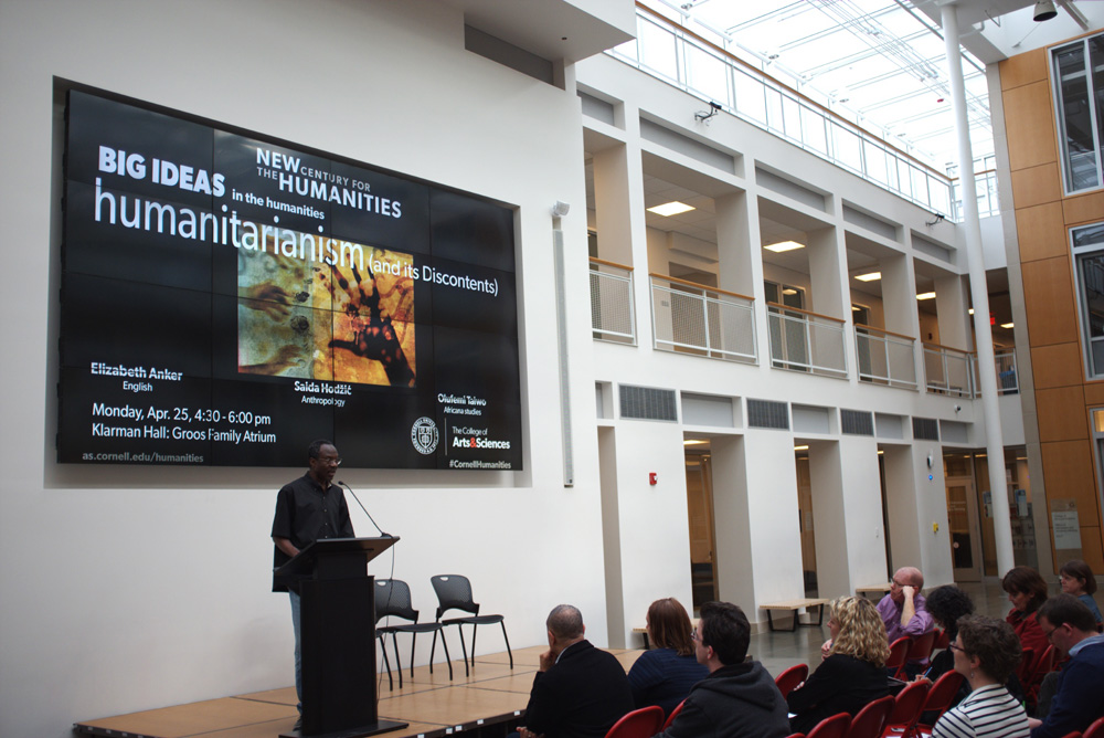 Prof. Olúfémi Táíwò, Africana studies, discusses how Western aid to African countries frequently dehumanizes its recipients at a lecture in Klarman Atrium Monday.