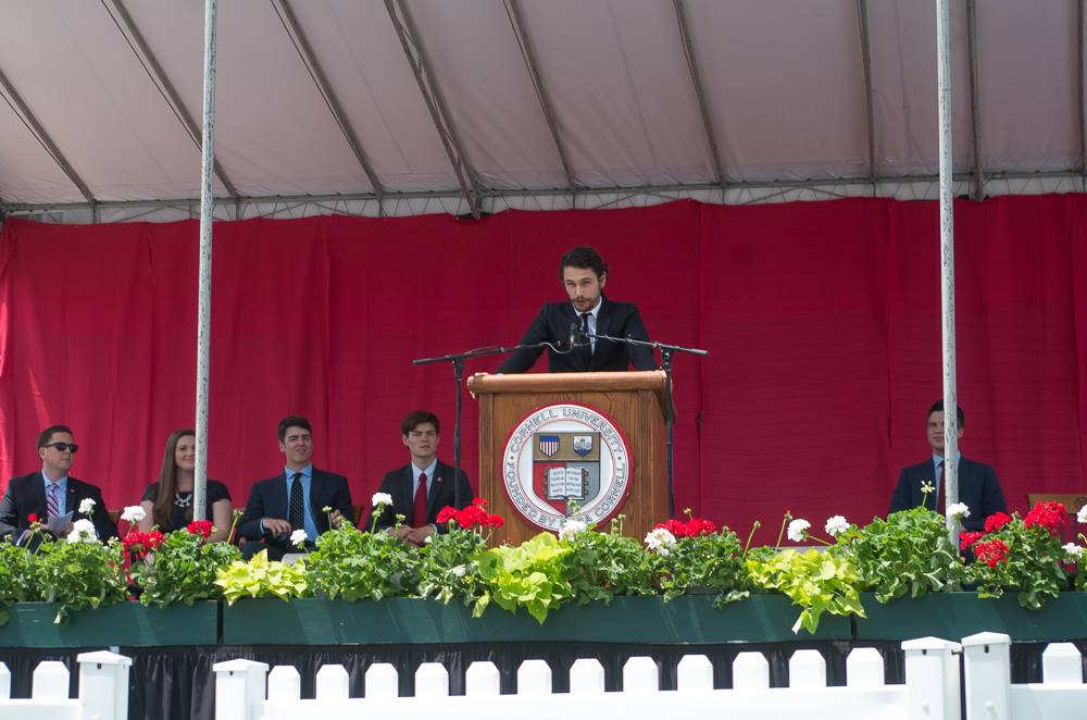 Actor James Franco speaks to the graduating Class of 2016 at convocation.