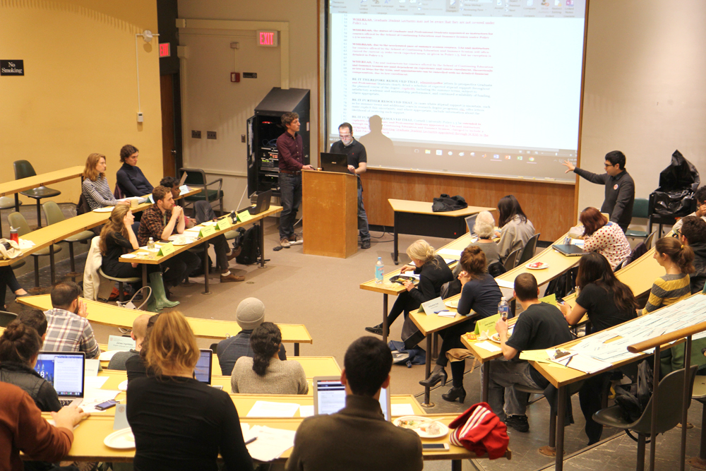The Graduate and Professional Student Assembly discussed workers' compensation for graduate students during its meeting on Monday.