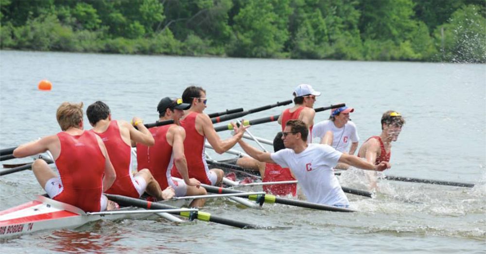 Oprea rejoices with Ray Richard '15 after winning the 2015 IRA National Championships.