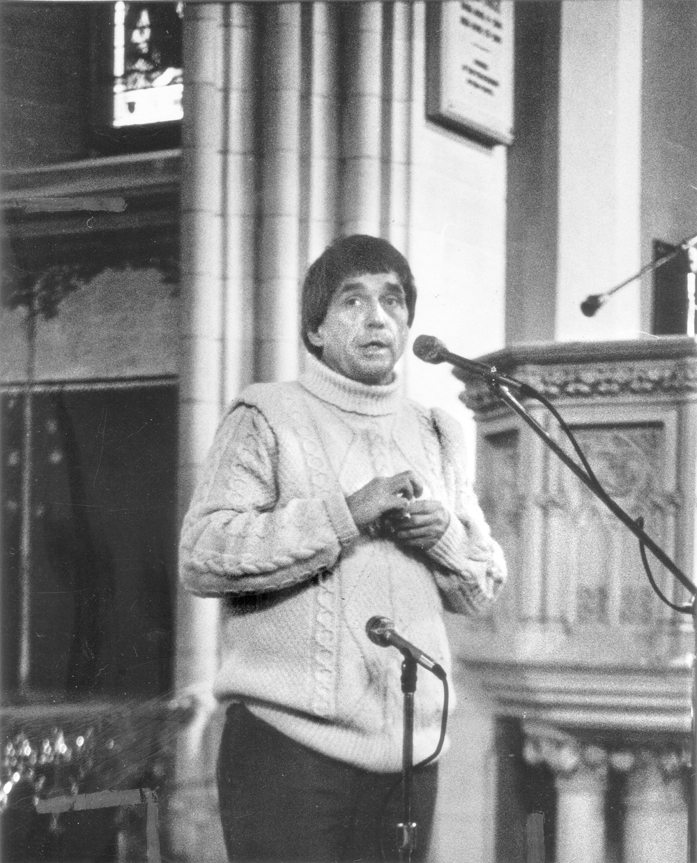 America Is Hard to Find | Rev. Daniel Berrigan speaks before about 1,000 people in Sage Chapel on January 26, 1975 to give the first sermon of that spring semester. It was Berrigan's first public appearance on the Cornell campus since April 1970 when he stunned a throng of 15,000 by appearing at a Barton Hall celebration in his honor, even though he was then a fugitive being actively hunted by the FBI.