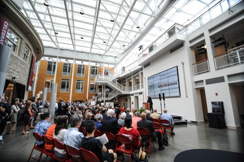 Cornellians listen to speakers share their hopes for Klarman Hall at its christening Tuesday.