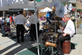 A band performs for festival attendees on State Street Saturday afternoon.