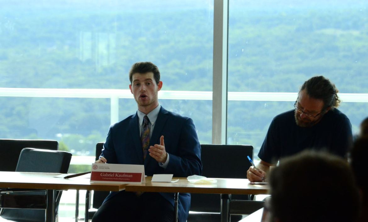 Gabe Kaufman '18 was elected University Assembly chair in a meeting yesterday.