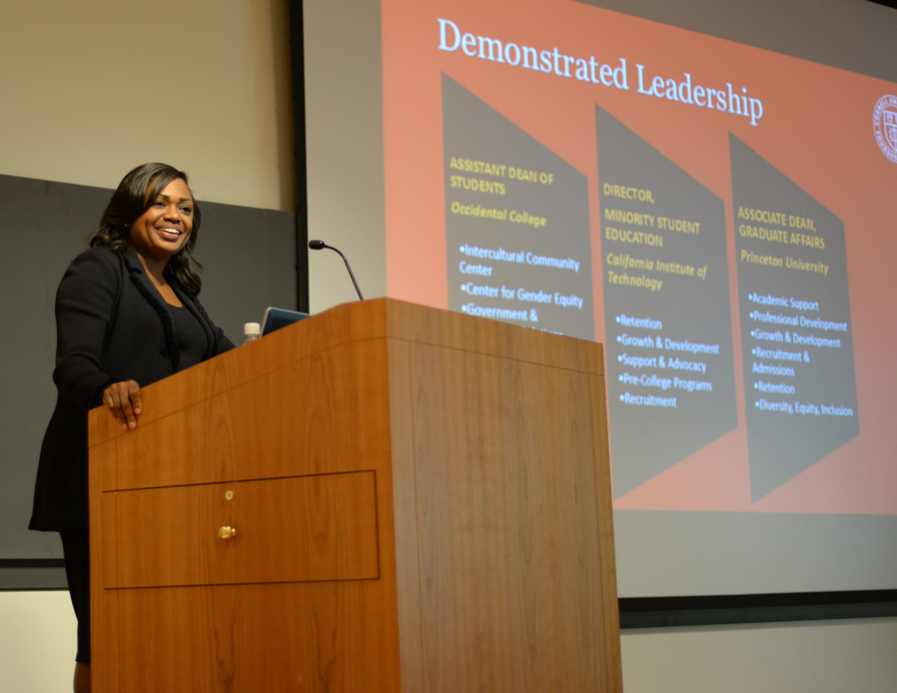 "The Dean of Students candidate relays how she was involved on campus and highlights her  ""demonstrated  leadership."""