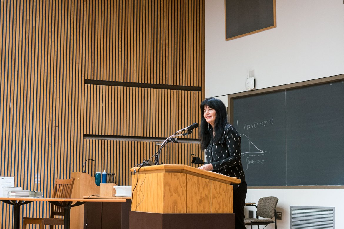 Native American poet and memoirist Joy Harjo read from her work in Goldwin Smith Hall Thursday, as part of the Fall 2016 Barbara and David Zalaznick Reading Series.