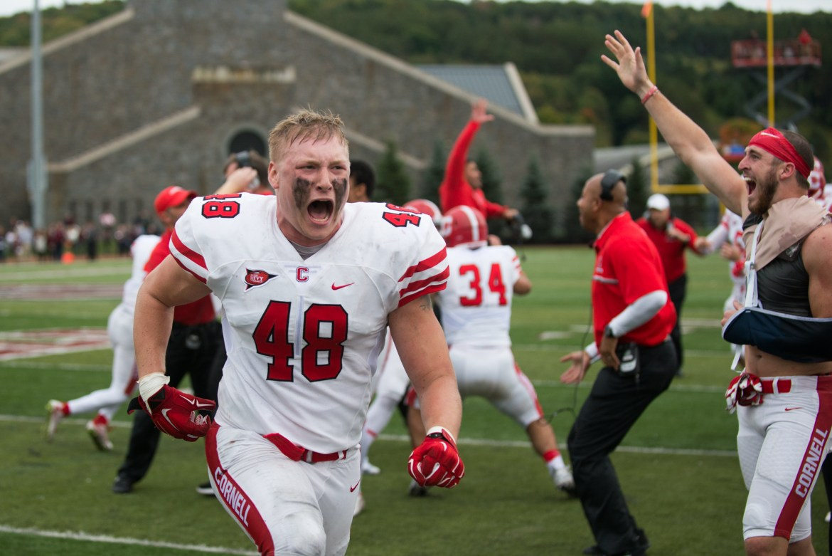 "Junior linebacker Kurt Frimel celebrating after ""the best win I've ever been a part of."""