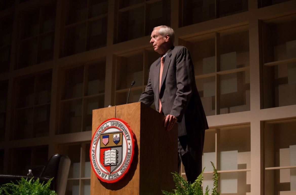Interim President Hunter Rawlings speaks to the Cornell community in Statler Hall in October.