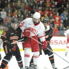 The six-foot-three Malott found his scoring touch Friday, notching his first collegiate goals in hat trick fashion,