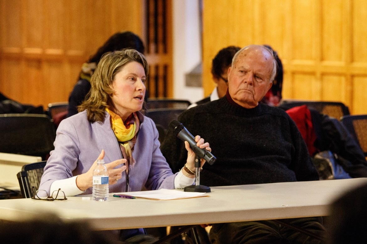 Cornell Ombudsman Office Director Linda Falkson and Prof. Emeritus Charlie Walcott, neurobiology and behavior, explain the role of the Ombudsman at Thursday's Student Assembly meeting.
