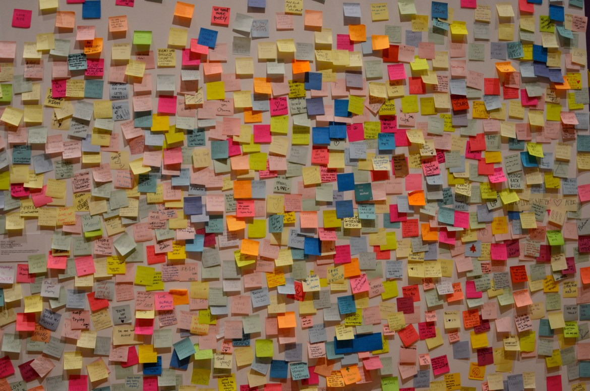 Subway Therapy, an art installation in New York subways composed of hundreds of sticky notes, has been transported to the Johnson