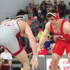 Senior Gabe Dean pinned his opponent in only 38 seconds in Saturday's meet at Columbia,