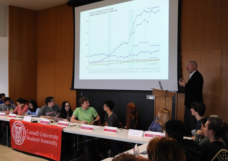 Provost Michael Kotlikoff presents a graph showing how cost of tuition has changed for different income quintiles.