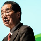 "Former Japanese prime minister Naoto Kan speaking at his lecture ""The Truth about the Nuclear Disaster in Fukushima and the Future of Renewable Energy"" on Tuesday at Statler Auditorium."