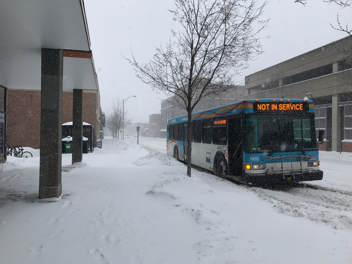 TCAT temporarily suspended service on Tuesday afternoon, citing treacherous roads caused by Winter Storm Stella