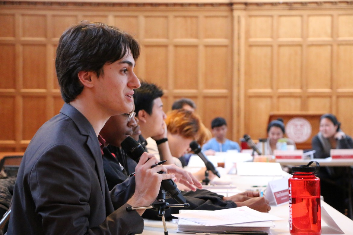 Assemblymember Alexander Iglesias '17 speaks at the Student Assembly Meeting on Thursday afternoon. S.A. passed a resolution urging condemnation of Trump and tabled a resolution calling on Cornell to release financial information.