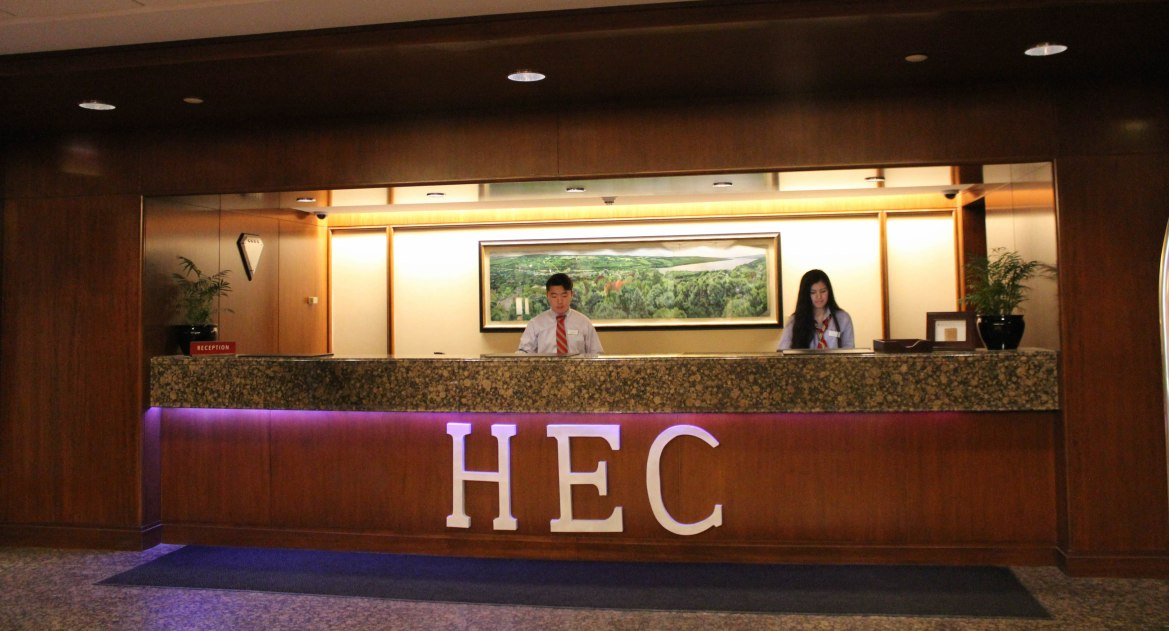 Andrew Deng '19 and Kateryna Lo '17 man the reception desk during the 92nd Hotel Ezra Cornell.