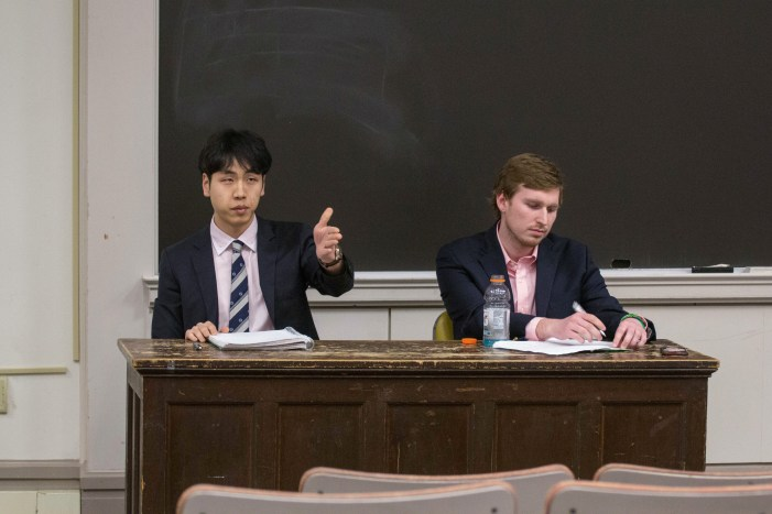Student Assembly presidential candidates Jung Won Kim '18 and Matthew Indimine '18 debate for the upcoming election.