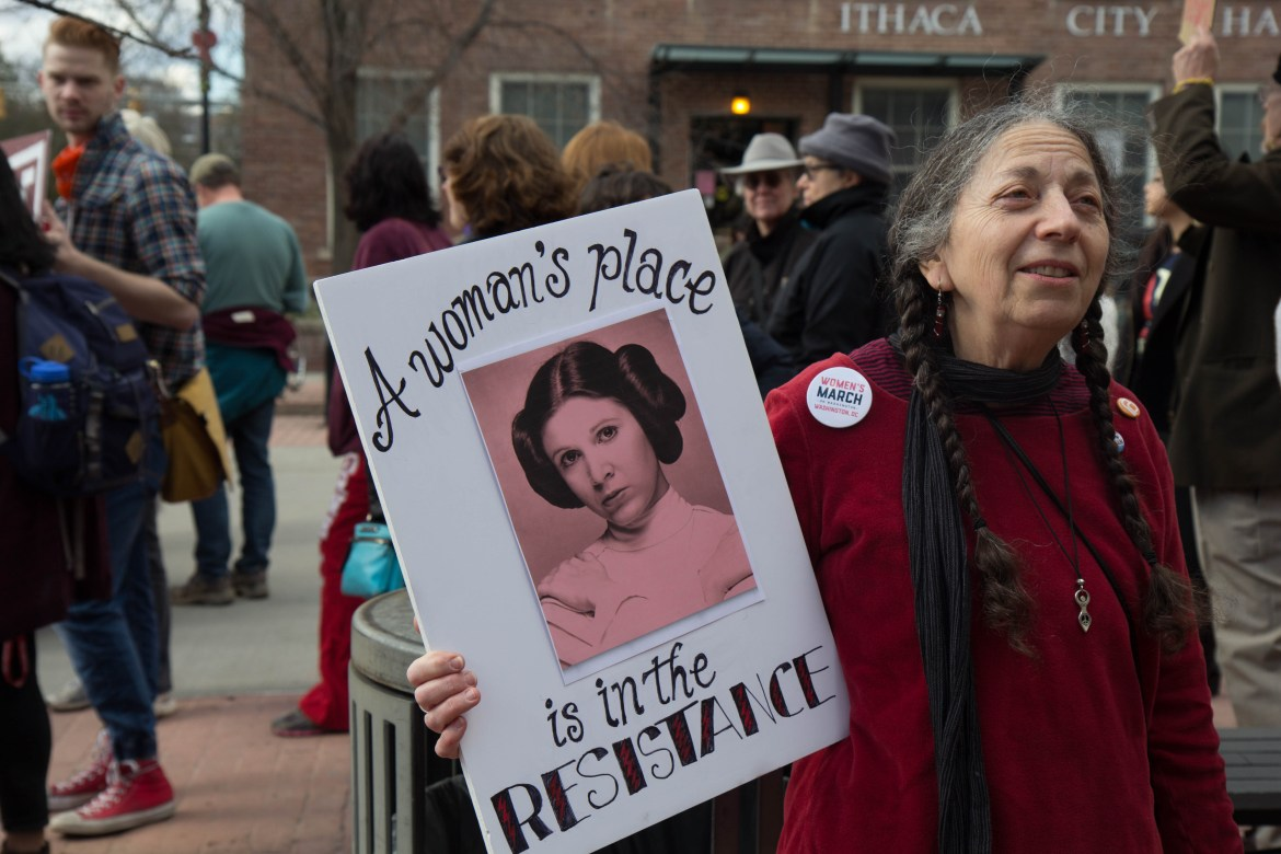 "Fullis Conroy, of Ithaca, said she and her friends marched on Wednesday because they ""don't want to go back to the '50s."""