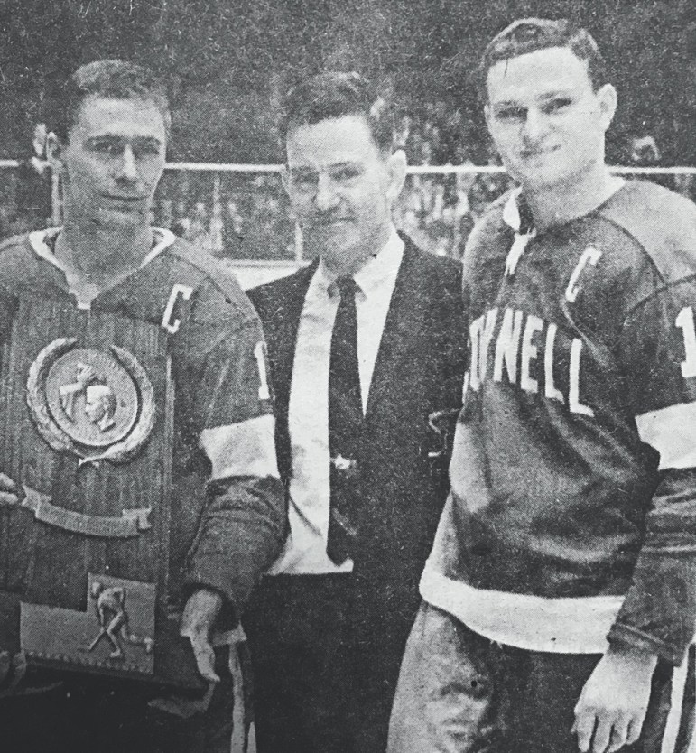 Ned Harkness (middle) is cemented as one of collegiate sports' most storied head coaches, leading Cornell and RPI to several championships among multiple sports.