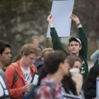 More than 50 students, professors and Ithacans convened on Ho Plaza at Cornell on Tuesday, protesting last week's U.S. missile strike in Syria.
