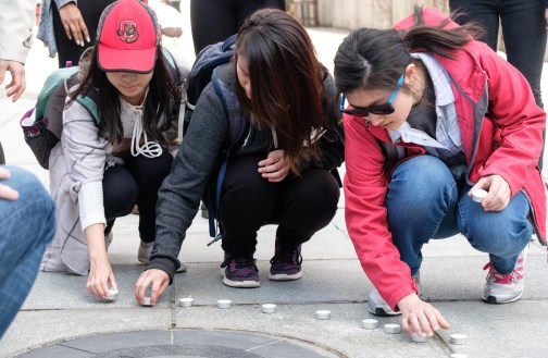 Students remember Joyce Shi at a memorial event at Ho Plaza on Wednesday, 12 April.