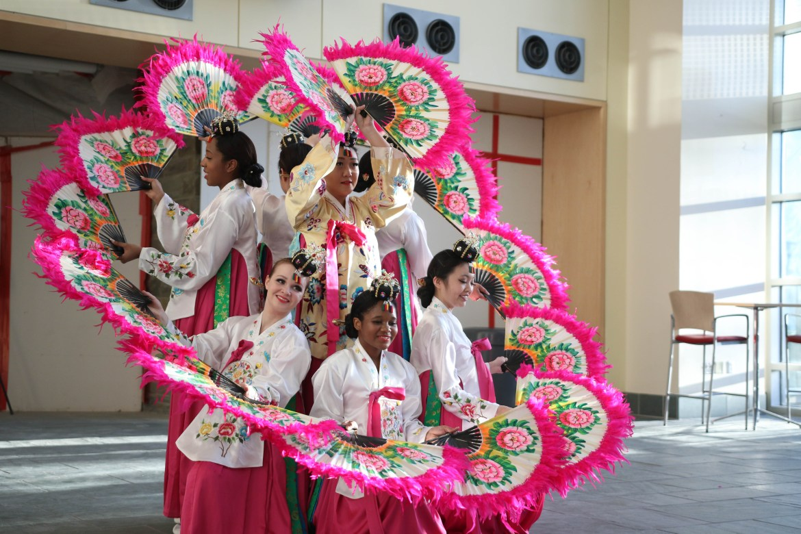 Cornell HanChum, a Korean traditional dance club, performs at Global Village at Duffield Hall on Friday, Apr. 14.