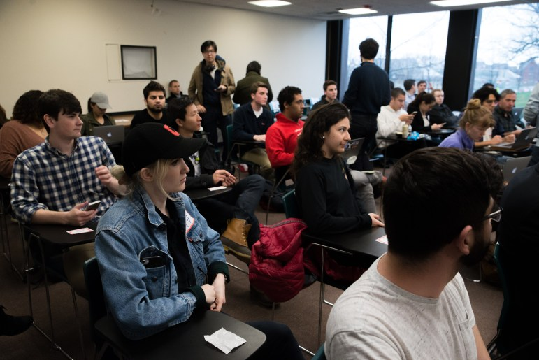 About 60 students watched the public hearing from 202 Uris Hall, but the stream was plagued with poor audio quality for the first hour or so.